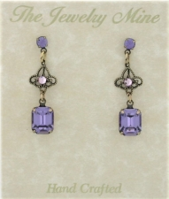 Vintage Filigree Drop Earrings - Tanzanite Austrian Crystal