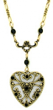 vintage look victorian style Austrian crystal filigree heart necklace