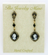 Vintage Victorian Style Jet Cameo Drop Earrings Wholesale