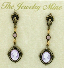 Vintage Victorian Style Lilac Cameo Drop Earrings Wholesale