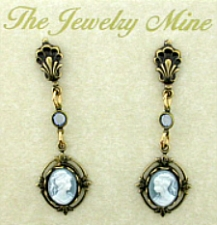 Vintage Victorian Style Blue Cameo Drop Earrings Wholesale