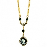 Vintage Inspired Victorian Style Cameo Necklace - Jet