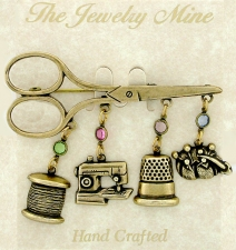 Vintage Sewing Theme Scissors Charm Pin