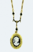 vintage look Victorian style cameo locket necklace
