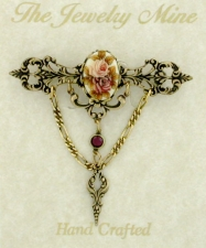 Vintage Inspired Victorian Style Filigree Bar Pin - Porcelain/Flowers