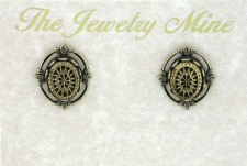 vintage look art deco style intaglio fashion button earrings