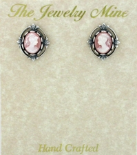 Vintage Victorian Style Cameo Button Earrings - Pink/Silver