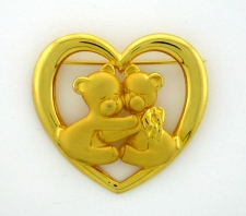 Hugging Bears Heart Brooch Pin - Gold Plated -  'JJ' Artifacts